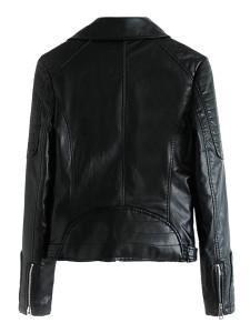 Black Lapel leather biker jacket