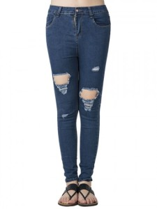 Blue Cut Out Skinny Jeans