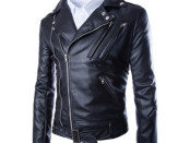 Men Casual Zippers Leather Motorcycle Jacket 1