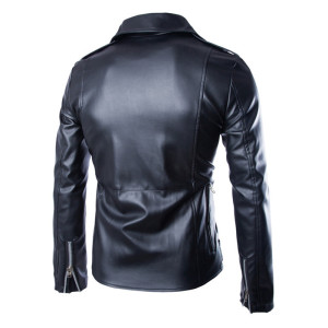 Men Casual Zippers Leather Motorcycle Jacket 2