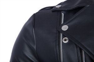 2015 Men Casual Zippers Leather Motorcycle Jacket