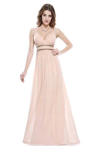 Straps Floor-length Chiffon Bridesmaids Dress