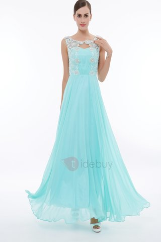 Straps Lace Appliques Pearls Long Prom Dress