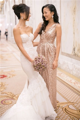 V-neck Floor-length Sequined Bridesmaids Dress